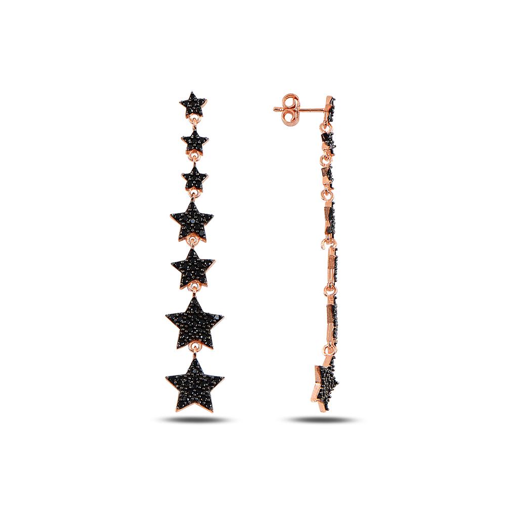925 ayar gümüş siyah zirkon taşlı süzme yıldız küpe