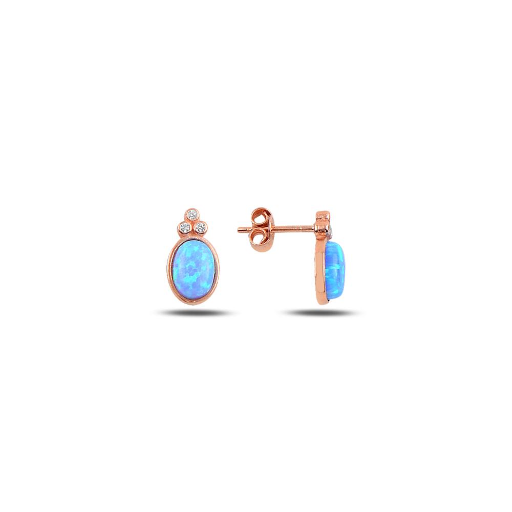 925 ayar gümüş opal taşlı oval küpe