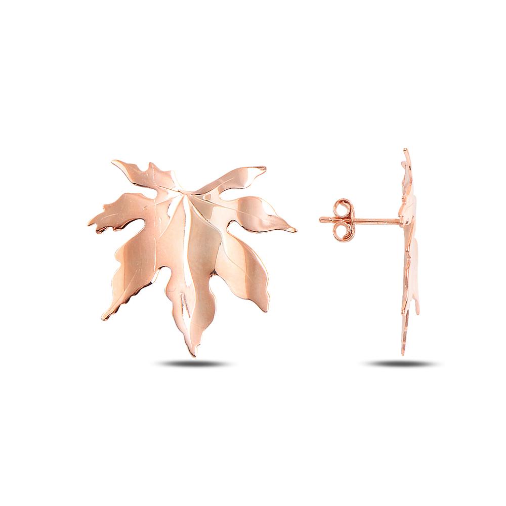 925 ayar gümüş rose yaprak küpe