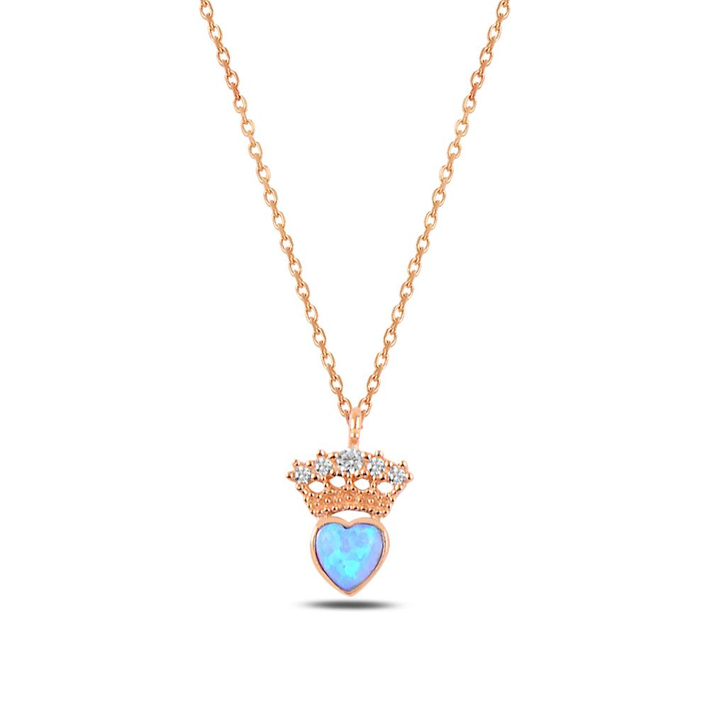 925 Ayar Gümüş Zirkon Ve Opal Kalp Taşlı Minimal Kalbimin Tacı Kolye