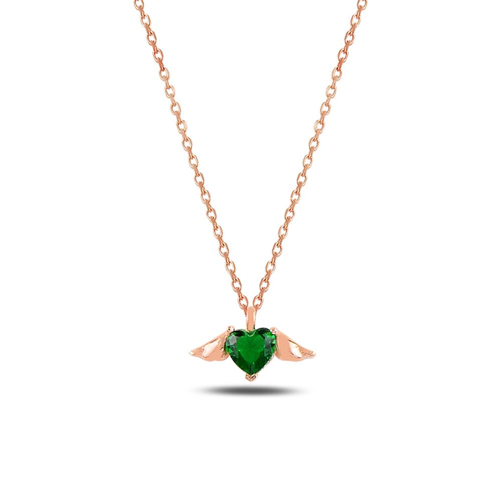 925 Ayar Gümüş Minimal Zümrüt Taşlı Kalp Kanat Kolye