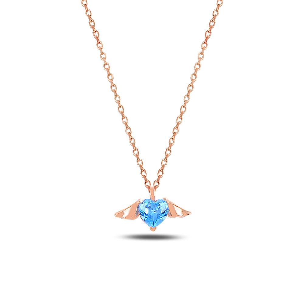 925 Ayar Gümüş Minimal Aquamarin Taşlı Kalp Kanat Kolye