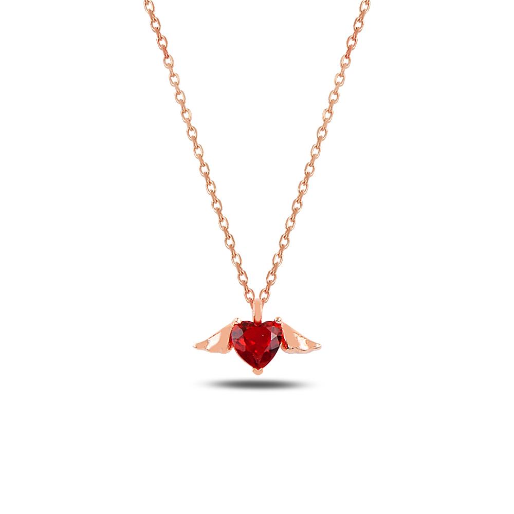 925 Ayar Gümüş Minimal Kırmızı Taşlı Kalp Kanat Kolye