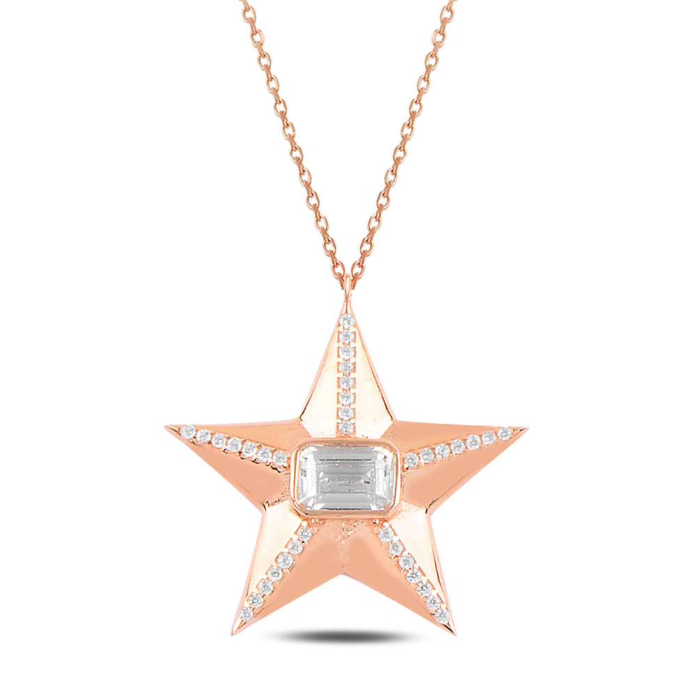 925 Ayar Gümüş Baget Taşlı Yıldız Kolye