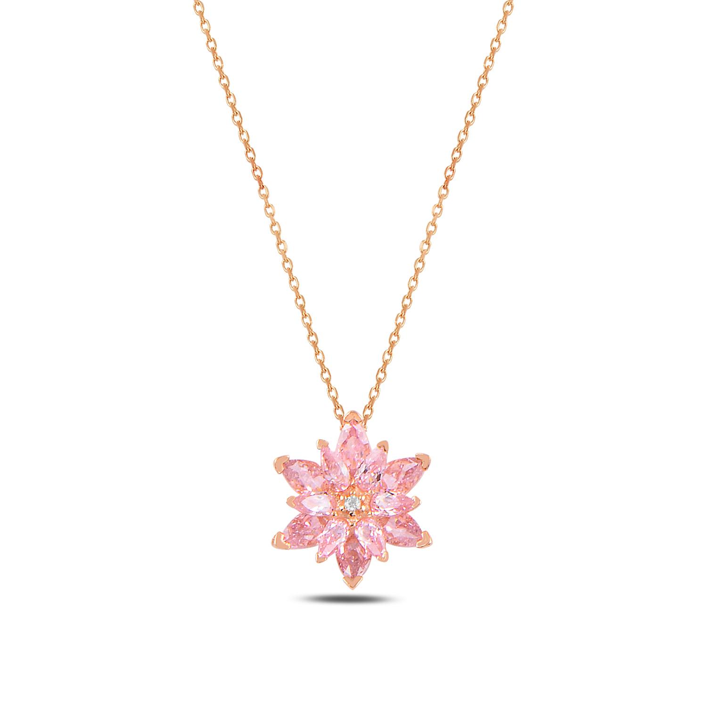 925 ayar gümüş pembe taşlı lotus çiçeği kolye