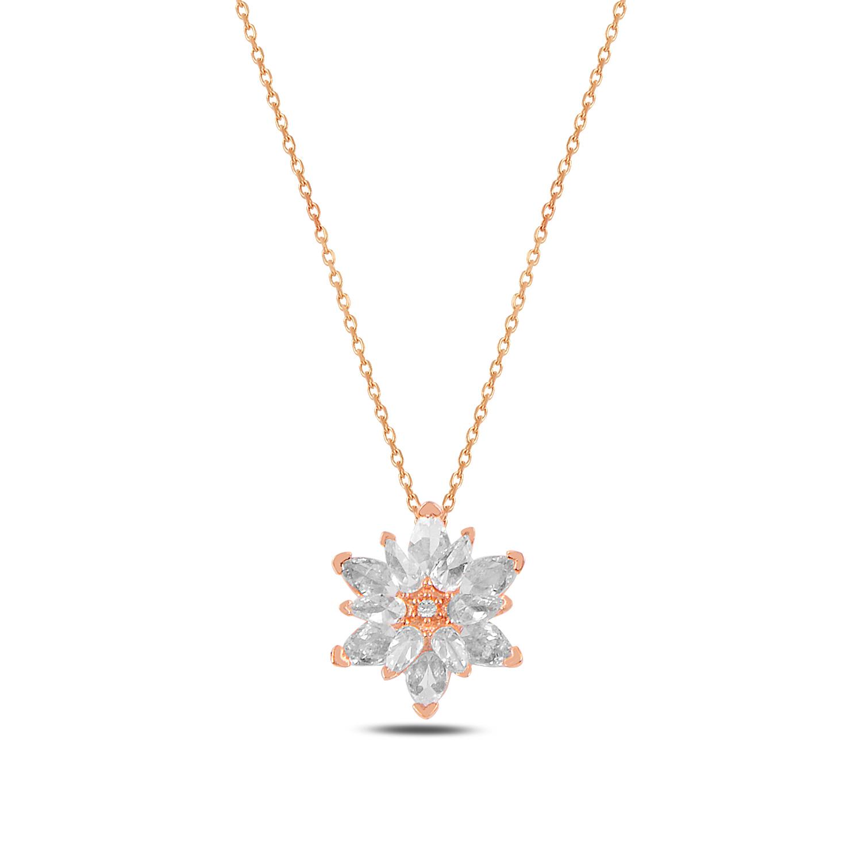 925 Ayar Gümüş Beyaz Taşlı Lotus Çiçeği Kolye