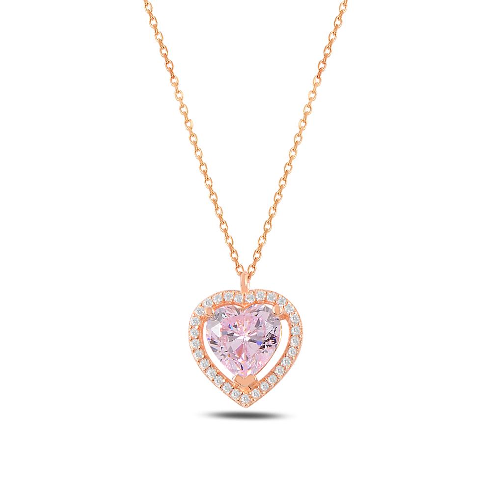925 Ayar Gümüş Kalp Pink Diamond Kolye