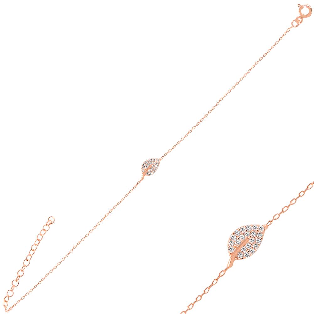 925 Ayar Gümüş Minimal Yaprak2 Bileklik