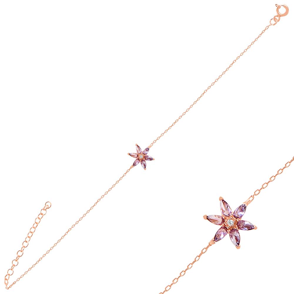 925 Ayar Gümüş Lotus Çiçeği Bileklik