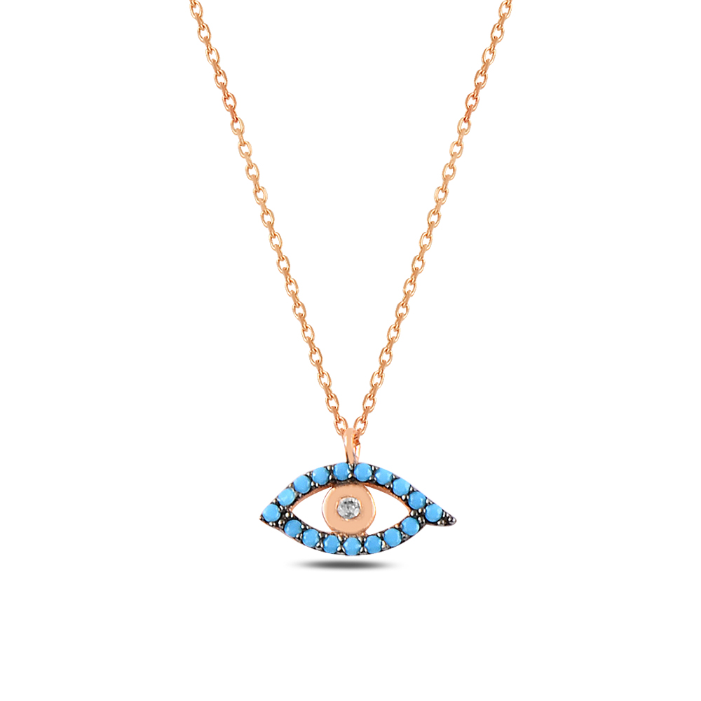 925 ayar gümüş turkuaz zirkon taşlı minimal göz kolye
