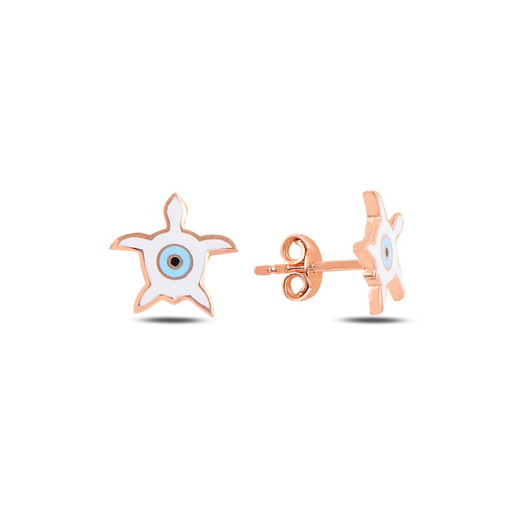 925 Ayar Gümüş Mineli Göz Kaplumbağa Küpe