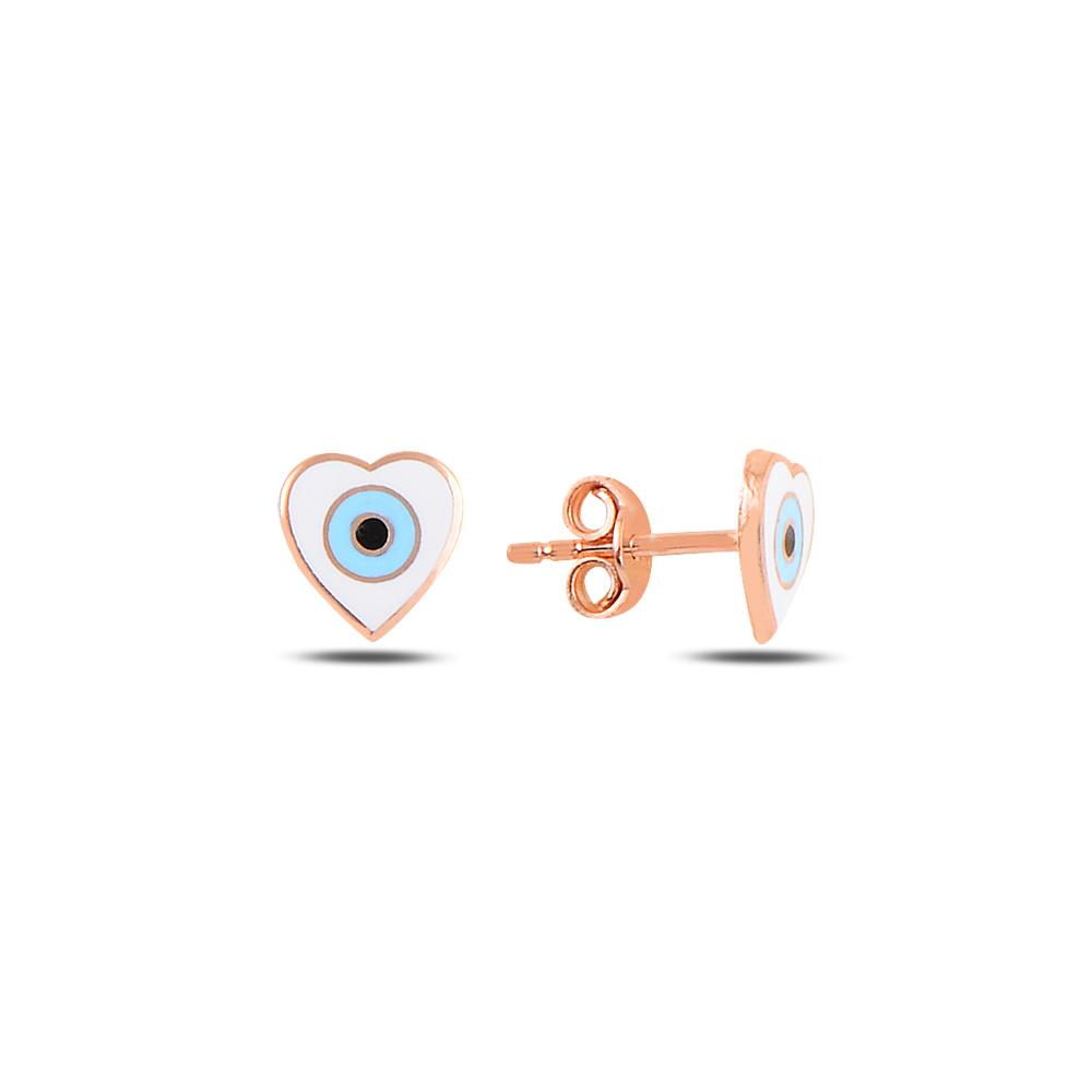925 Ayar Gümüş Mineli Göz Kalp Küpe