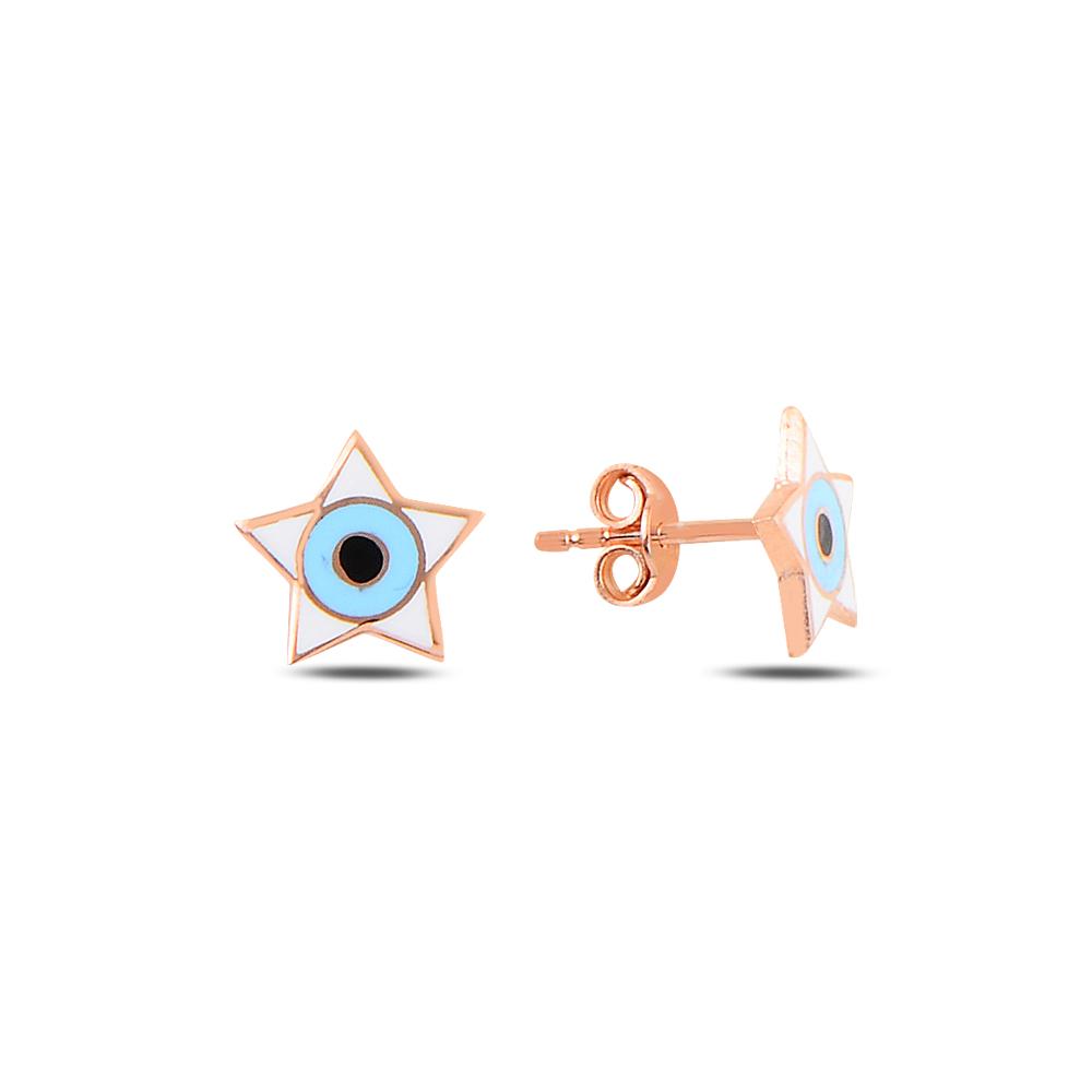 925 Ayar Gümüş Mineli Göz Yıldız Küpe