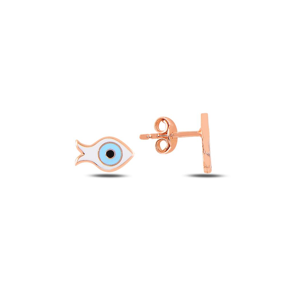 925 Ayar Gümüş Mineli Göz Balık Küpe