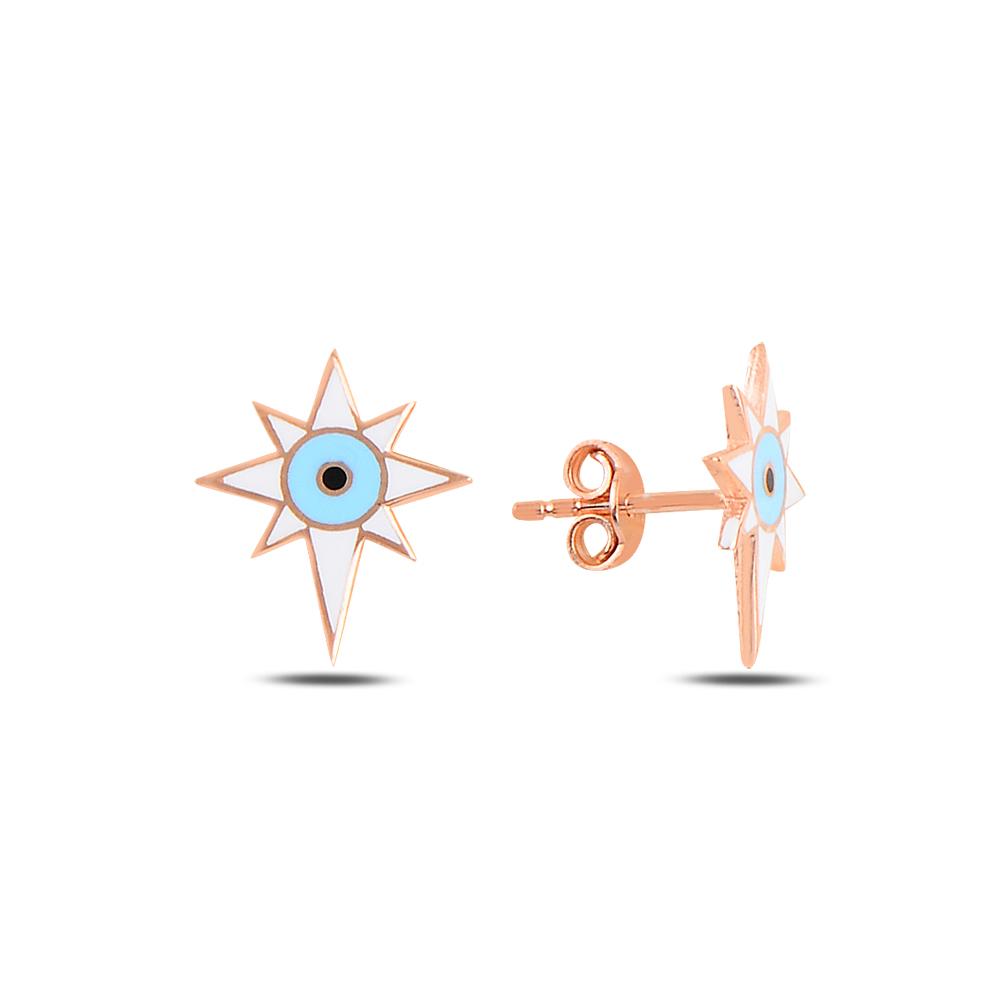 925 Ayar Gümüş Mineli Göz Kutup Yıldızı Küpe