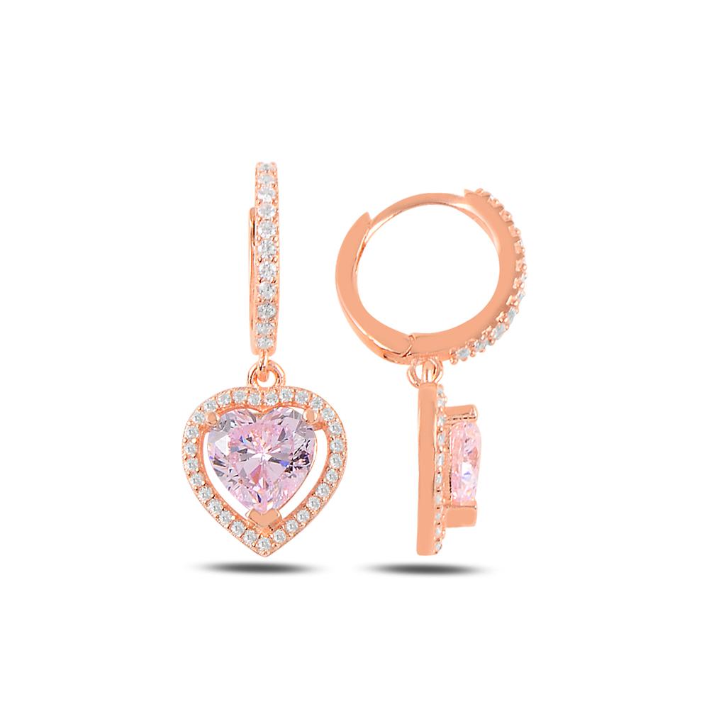 925 Ayar Gümüş Pink Diamond Kalp Küpe