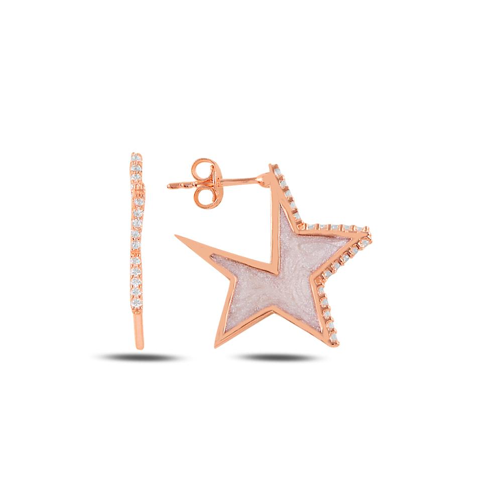 925 Ayar Gümüş Mineli Yıldız Küpe