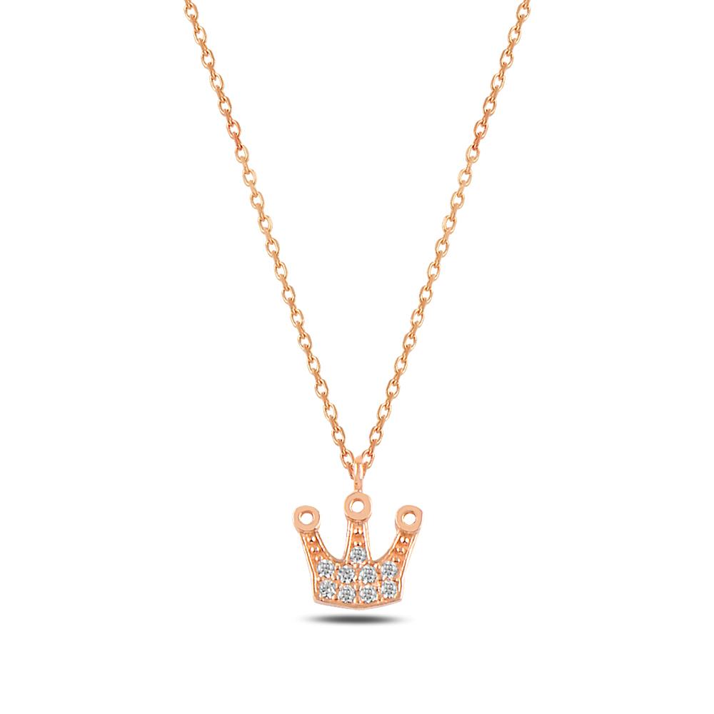 925 ayar gümüş zirkon taşlı kral tacı kolye